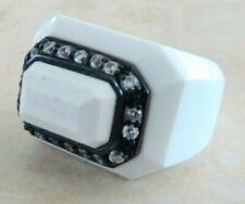 White Agate Ring size 6.5 15.8 Gr 925 Sterling Silver 14k Black Gold Embraced