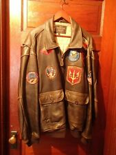 BEAUTIFUL TOP GUN LEATHER G-1 BOMBER JACKET WITH PATCHES SIZE 3XL RARE