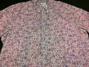 Reyn Spooner Mens Hawaiian Aloha Button Front Short Sleeve Shirt 2XL XX XXL
