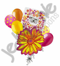 7 pc Yellow Holographic Flower Butterfly Happy Birthday Balloon Bouquet Decor