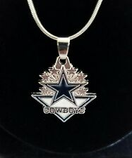 """Dallas Cowboys Sterling Silver 925 NFL Pendant Necklace Jewelry Charm 24"""""""