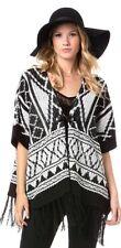 MISS ME Autumn Daze Poncho Knit Top Sweater M NWT MDSW049L Women Black White