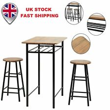 UK Bar Table Set Kitchen Dining Breakfast 2 High Chairs Stools Set Storage Layer