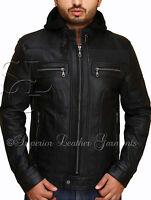 Mens Slim Fit Black Leather Detach Hood Biker Style Jacket