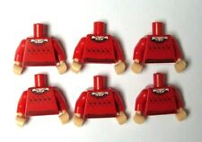 Lego 6 Flesh Torso Body For Minifigure  Red Sweater Jumper Shirt Xmas Robin
