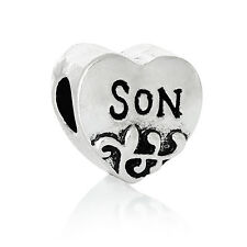 Son Heart Family Mother Gift Jewelry Bead for Silver European Charm Bracelets