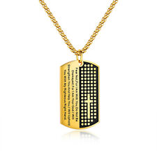 Men Dog Tag Cross Necklaces Pendant Stainless Steel Chain Bible Christian Gift