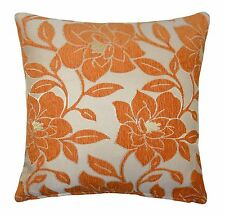 "LUXURY CHENILLE FLORAL FLOWER THICK ORANGE BEIGE CREAM CUSHION COVER 18"" - 45CM"