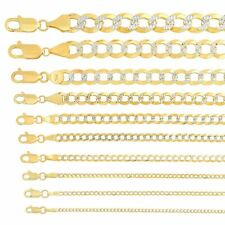 """Solid 14k Yellow Gold Cuban Link Chain Necklace D/cut 1.5mm-10mm Sz 16""""-30"""""""