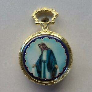 MARY Religious Antique Retro Pocket Watch Mechanical Roman Numerals Quartz Gold