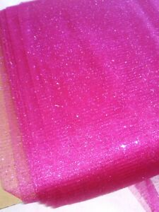 """Hot Pink Fuchsia Glitter Sparkle Mesh Tulle Netting~58"""" Wide Fabric~By The Yard"""