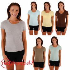 Short Sleeve Solid Regular Size Tanks, Camis for Women
