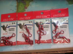 Eagle Claw 2/0 Red Barrel Swivels 4 Packs of 3 Swivels 12 Total Brand New!!!