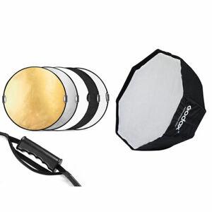 Godox Tragbare 120cm Oktagon Schirm-Softbox + 110cm 5in1 Reflektor Set
