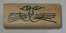 Cat Face Whiskers Rubber Stamp Nose Lips Smile Wood Mounted Pets Kitty Kitten