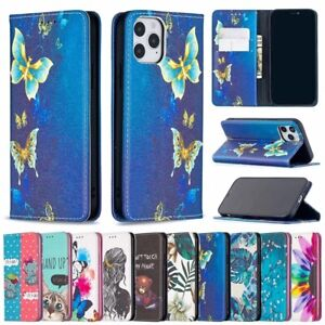 For iphone 12 Mini 11 Pro SE 2020 XR XS 8 Case Painted Flip Wallet Holder Cover