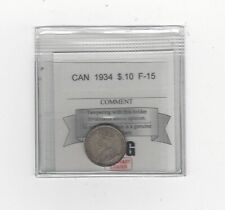 **1934**, Coin Mart Graded Canadian,  10  Cent, **F-15**
