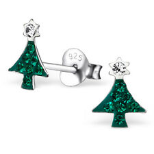 925 Sterling Silver Crystal Christmas Tree Cute Stud Earrings Noel Green Sparkly