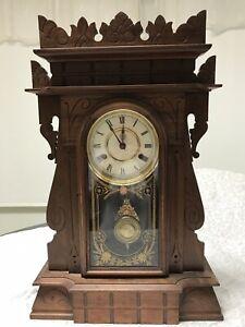 New Haven Clock Co Time & Strike Walnut
