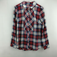 Denim & Co. Stretch Weave Plaid Button Front L. Sleeve Shirt Red Multi S A299207