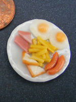 1:12 Scale Double Eggs Ham & Chips On A 2.5cm Ceramic Plate Dolls House Food