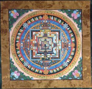 Kalachakra Mandala Pintura Hecho a Mano Tibetano Thangka Budista Meditacion Art