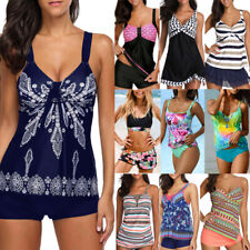Plus Size Boho Women Summer Tankini Set with Boy Shorts Beach Swimsuit Bathing