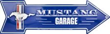 """Ford Mustang Garage Metal Arrow Sign 20"""" x 6"""" ↔ Embossed Plaque Home Wall Decor"""