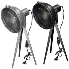Lámpara de mesa LED trípode retro negro/gris oscuro luz escritorio cabecera
