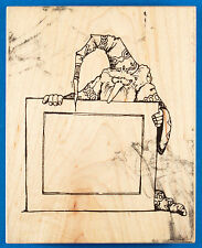 Rare Wizard & Rectangular Frame Rubber Stamp by Visual Image Printery (VIP) - TV