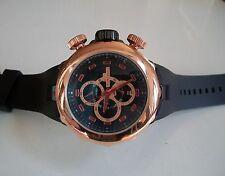 Designer Heavy Black/Rose Gold Finish Rubber Band Fashion Inspired Rapper Watch