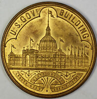 1893 U.S. Government Building World's Columbian Exposition Chicago Token AU