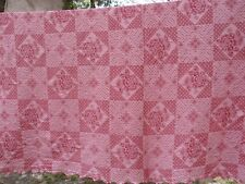 Vintage Pink Mauve Rose Cotton Single Bedspread Matelasse Square Dots Scalloped