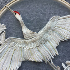 Crane Lace Applique Embroidery Patches Trim Collar Metallic Gold Champagne Threa