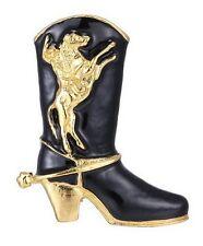 Broche motif botte de country, cow-boy noir et doré avec motif cheval rodéo.
