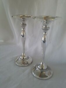 "Pair Pottery Barn Silverplated Taper Candlestick Holders 10"" With Drip Catch"