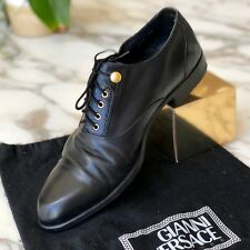GIANNI VERSACE black leather dress shoes with medusa head size 9,5 from 1994