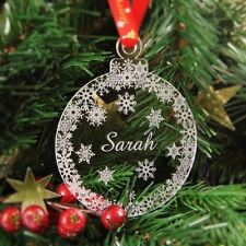 Personalised Christmas Bauble Engraved Christmas Tree Decoration - Snow Bauble