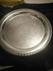 """Vintage Oneida USA Silver Plated Round Tea Fruits Serving Tray Silverware 12"""""""