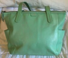 FOSSIL Mint Green Leather Tote Bag Purse-VERY NICE