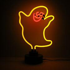 Handmade Glass Neon Light Sculpture YELLOW GHOST Ghoul 38cm Tall Halloween Lamp