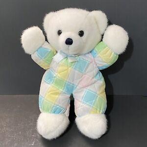 "Vtg 70s Dakin Cuddles Plush Teddy Bear 15"" White Fur Pastel Plaid Blue Bow Boy"