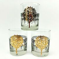 Otagiri Glass Tumbler Glasses Trees Gold Trim Set of 3 Vintage 1950s