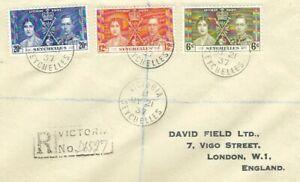 1937 Seychelles, KGVI Coronation Set on Plain FDC