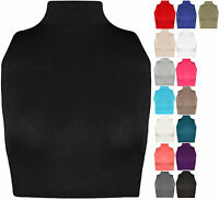 Womens Turtle Neck Crop Ladies Short Plain Sleeveless Polo Look Vest Top 8 - 14
