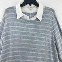 Khakis & Co Womens Size XL Sweater Woven Cuffs Collar Blue White Long Sleeves