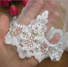 1 Yard Vintage Floral Pearl Net Lace Edge Trim Wedding Ribbon Sewing Craft Patch