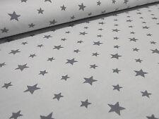 Stoff Baumwolle Jersey Sterne Stars hellgrau grau Kleiderstoff Kinderstoff