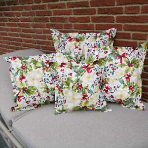 Kissenhülle für Drinnen & Draußen mit Christrosen Motiv (Garten- / Balkonkissen)
