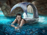 ANNE STOKES HIDDEN DEPTHS MERMAID - 3D PICTURE 400mm x 300mm